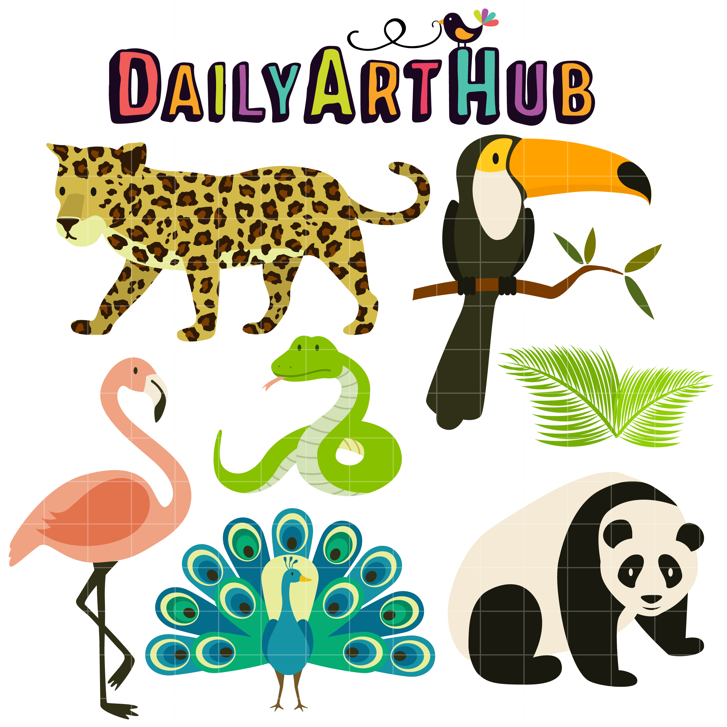 banner transparent stock Tropical animals clip art. Rainforest animal clipart