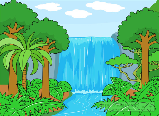jpg royalty free stock Rainforest wikiclipart . Waterfall clipart