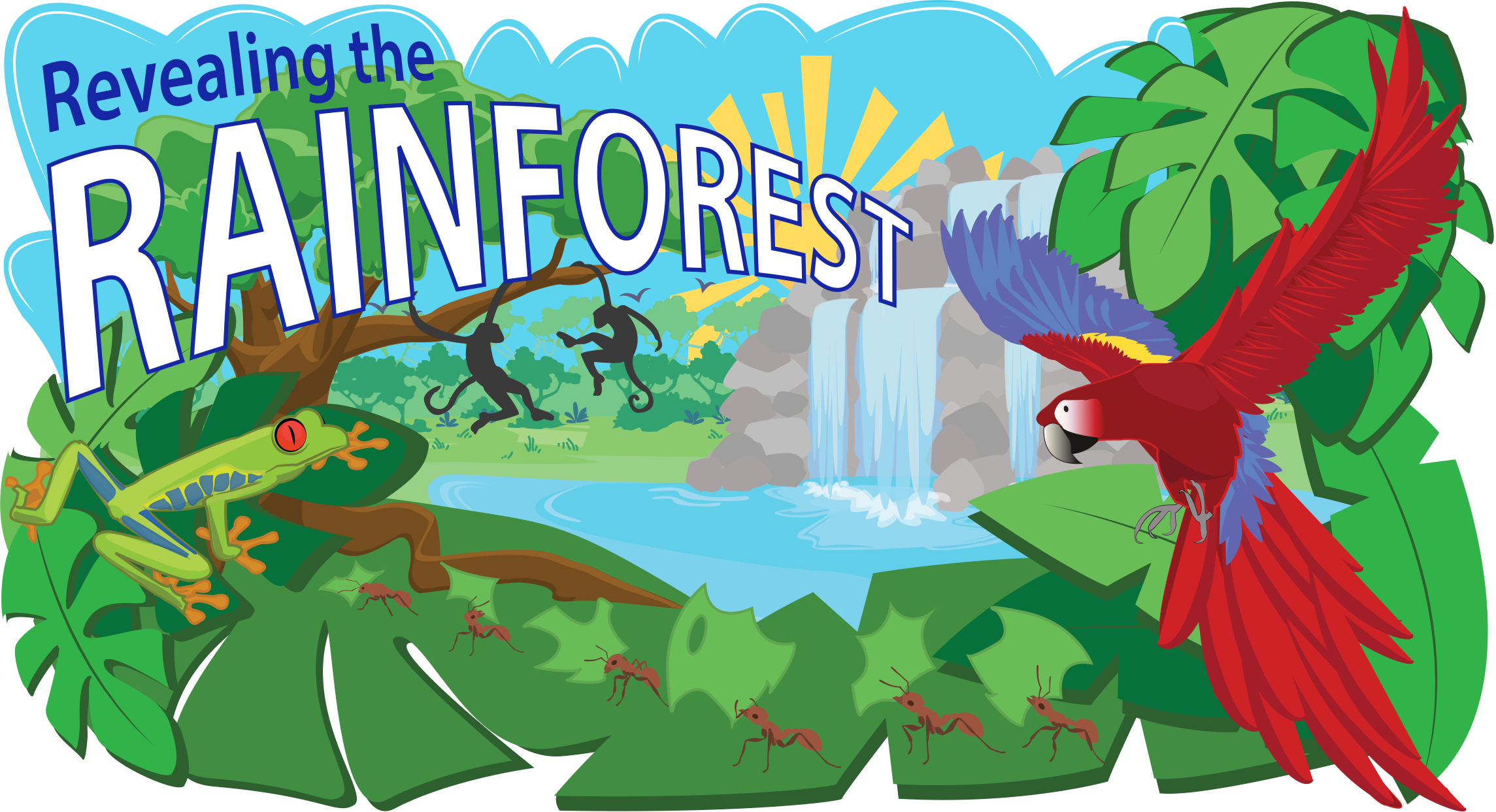 clipart royalty free download Tropical rainforest clipart header. Vector cartoons forest