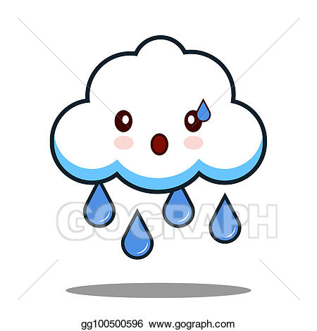 png free library Drawing cute cloud rain. Raining clipart face