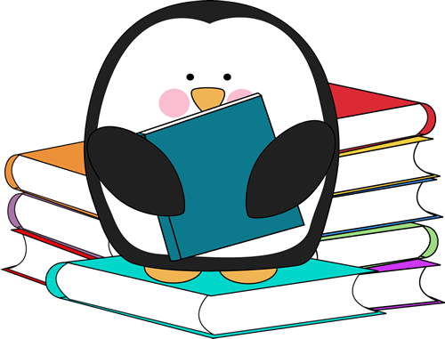 picture freeuse library Penguin surrounded by books