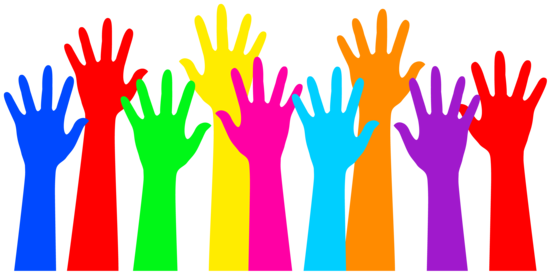 image download Rainbow colored raised hands. Volunteering clipart