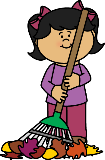 picture freeuse library Broom clipart golden. Autumn fall girl raking