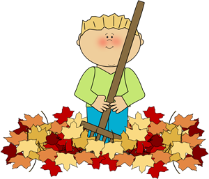 png freeuse stock Rake clipart pile fall leaves. Boy raking whoa cozy.