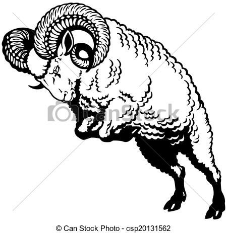 svg freeuse download Ram clipart black and white. Clip art vector of.