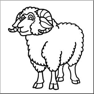 graphic free download Ram clipart black and white. Clip art cartoon sheep