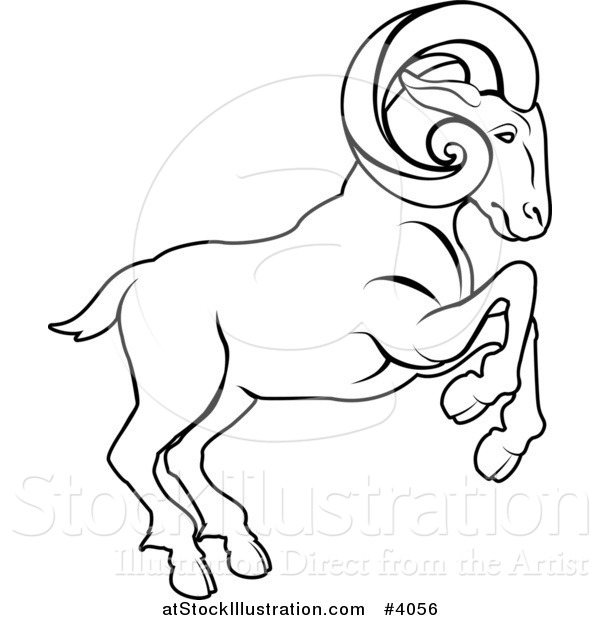 clip art free download Animal drawing at getdrawings. Ram clipart black and white