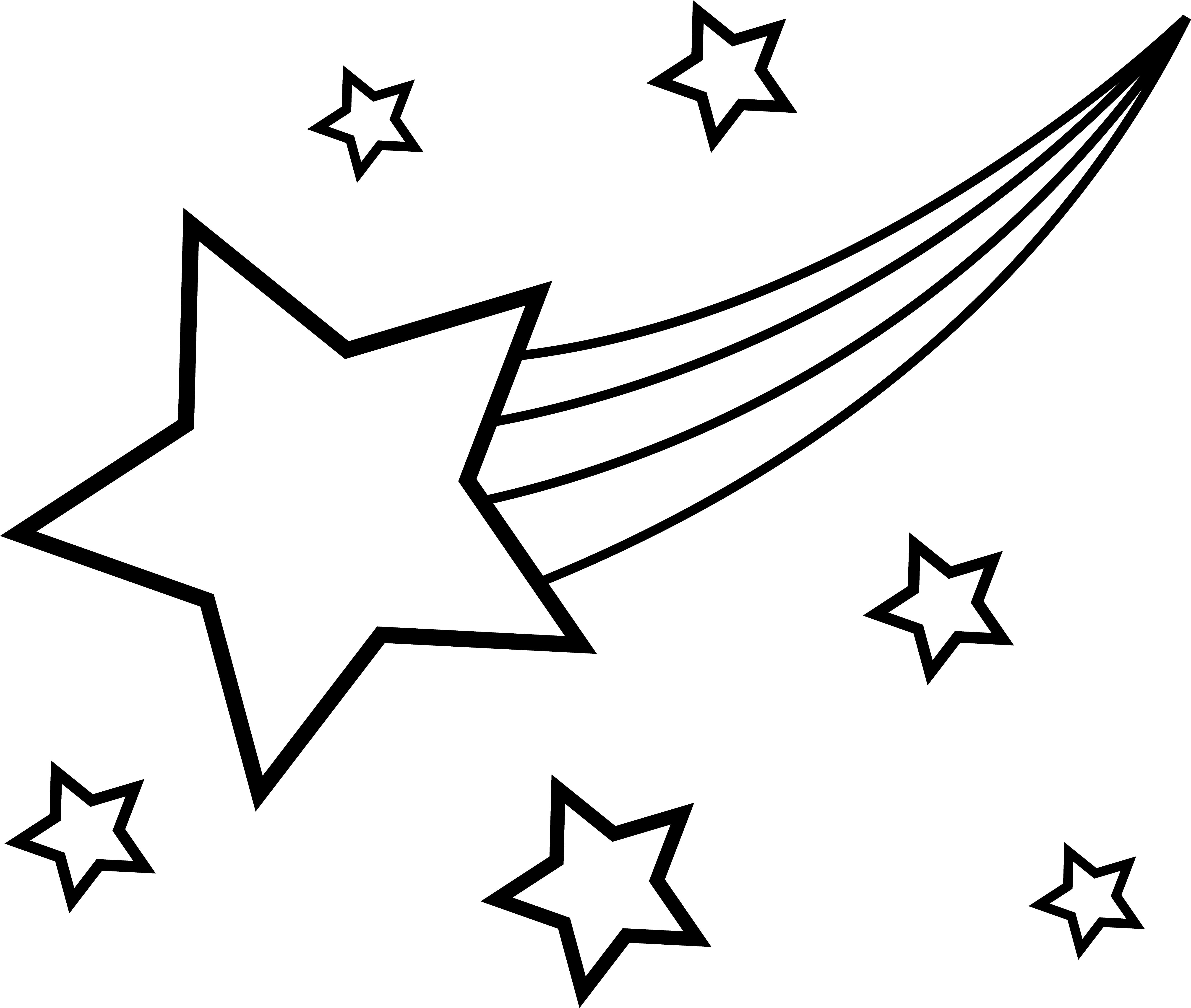 vector library library Black and white stars clipart. Shooting star clip art