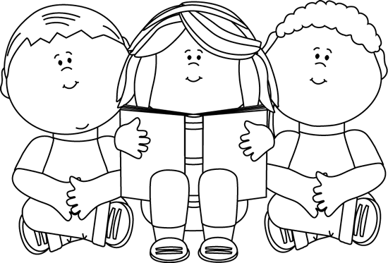 transparent Praise and worship clipart black and white. Kids reading clip art
