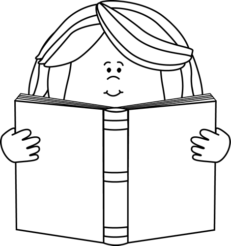 clip black and white download Black and White Girl Reading a Book Clip Art