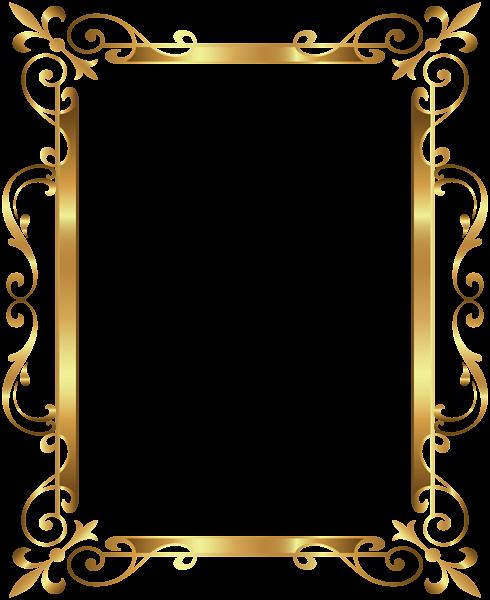 transparent Gold Border Frame Deco Transparent Clip Art Image
