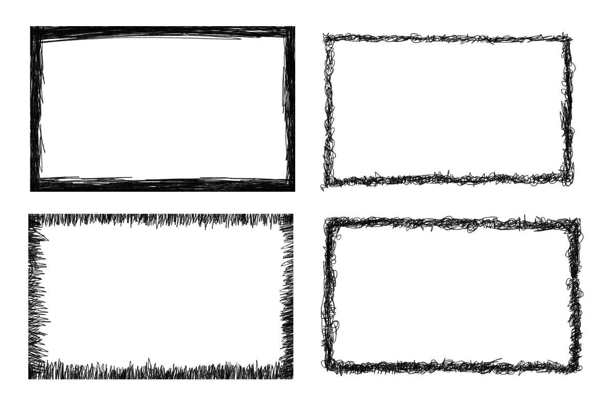 banner black and white Drawing rectangle transparent background.  scribble frame png