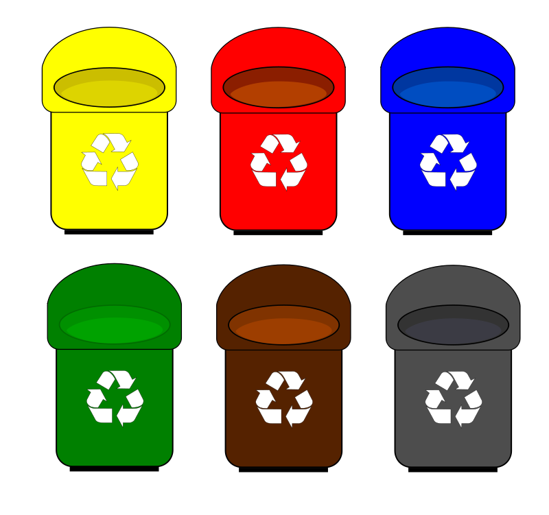 download Colorful Recycling Bins Clipart