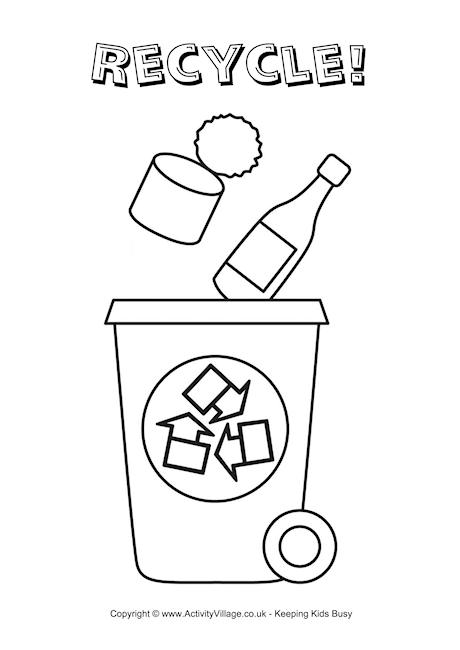 picture black and white library Recycling drawing color. Free recycle coloring pages