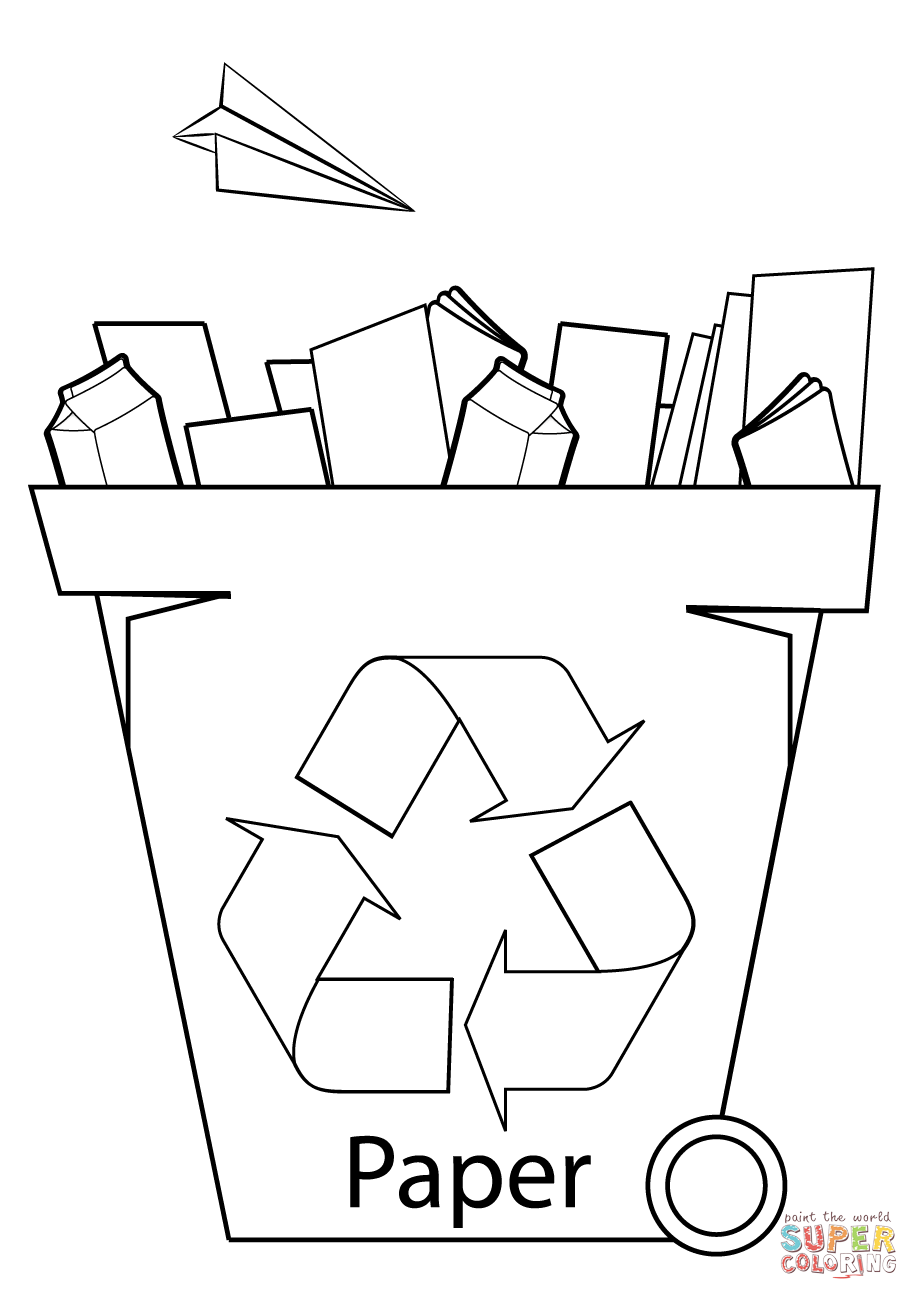 png Recycling drawing color. Paper bin coloring page