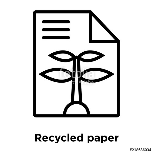 svg black and white library Recycled isolated on white. Recycling vector paper icon