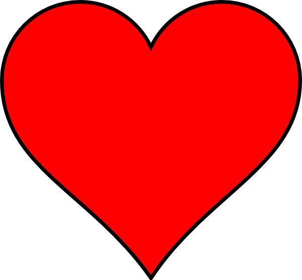 picture free library Red Heart With Thin Black Outline Clip Art at Clker