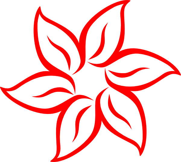 graphic free library Red Flower Outline Clip Art at Clker