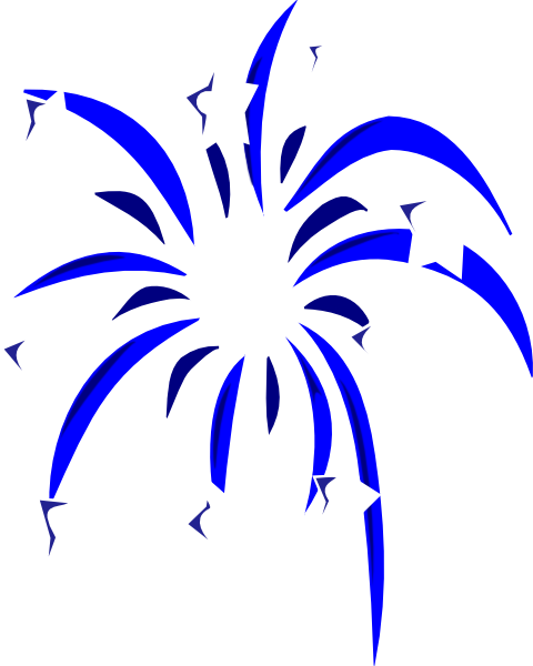 freeuse Blue Fireworks With White Stars Clip Art at Clker