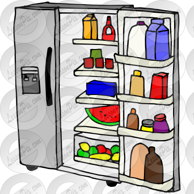 image black and white Open Refrigerator Picture for Classroom