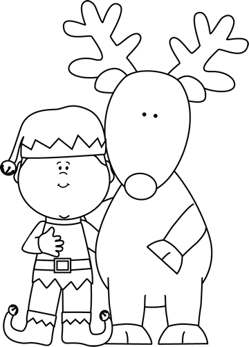 svg library library Elf clip art. Reindeer clipart black and white