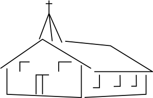 banner freeuse stock Church building clip art. Religious clipart black and white