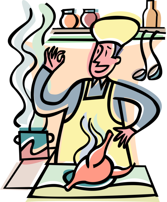 clipart free library Chef in Kitchen Cooks Roast Chicken Dinner