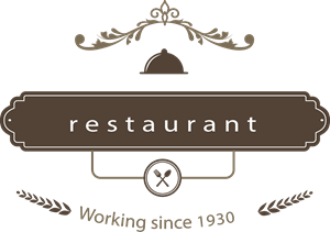 picture black and white library Restaurant badge in retro style Logo Vector