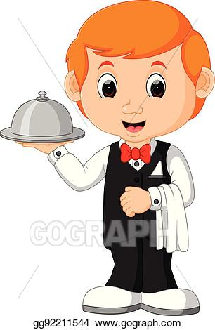 picture black and white library Eps illustration serving cartoon. Restaurant waiter clipart