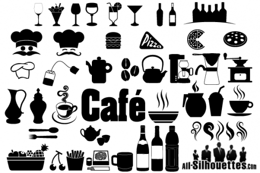 svg royalty free library Restaurants clipart vector. Cafe restaurant icons symbols