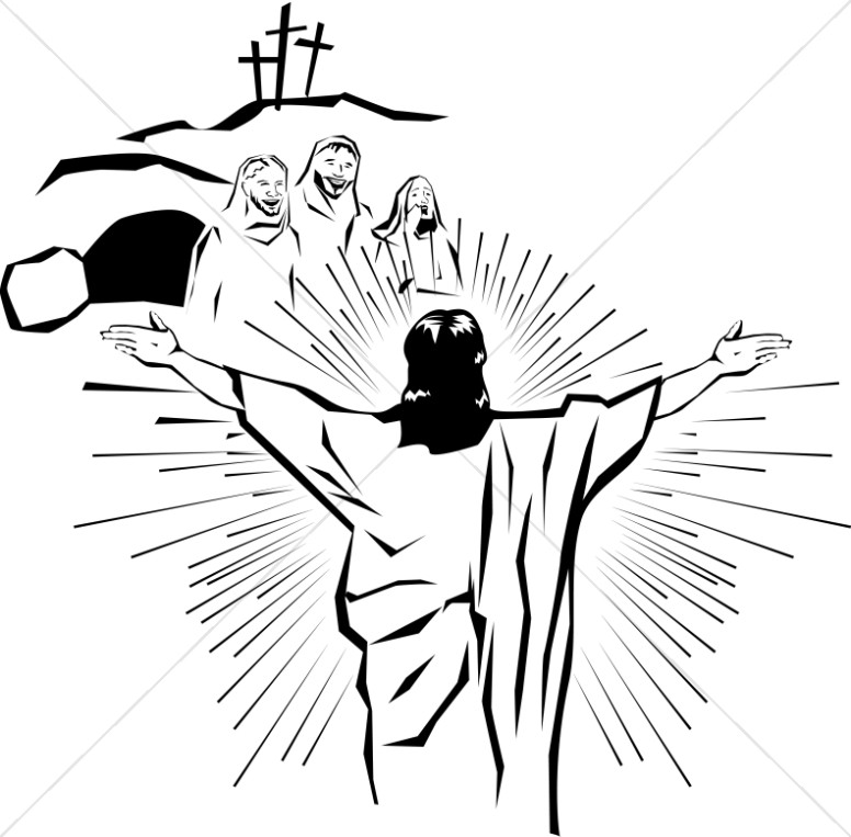 svg free library Resurrection clipart. Resurrected christ appears to.