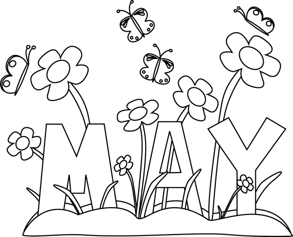 free January clipart black and white. Month of may flowers