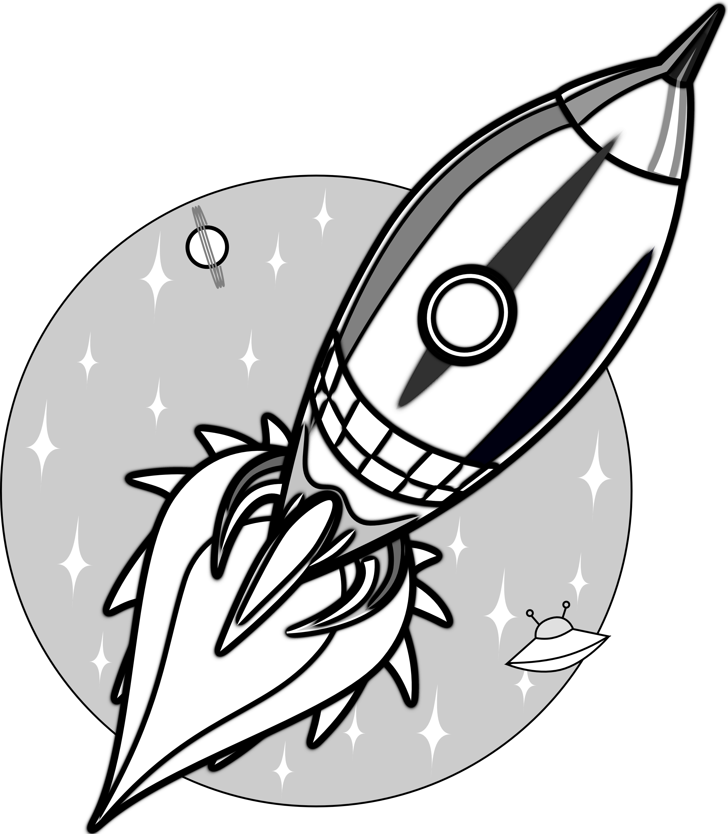 image Missile vector black and white. Retro space rocket tattoo