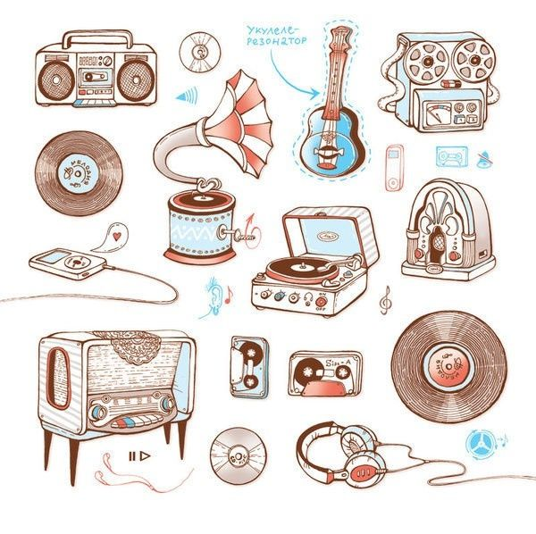 banner download Retro drawing. Music making illustrations graphic.