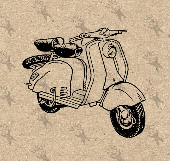 png transparent download Retro drawing. Moped vespa scooter vintage.