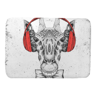 picture transparent Retro Hipster animal giraffe with headphones