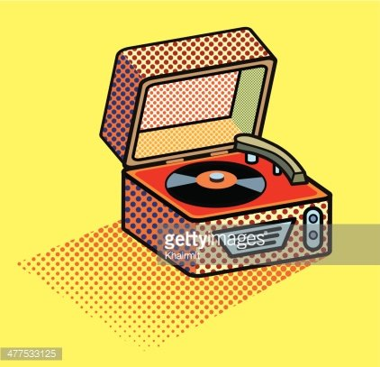 freeuse library Vintage image clip arts. Retro record player clipart.