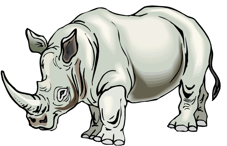 vector free download Brown Rhino Clipart
