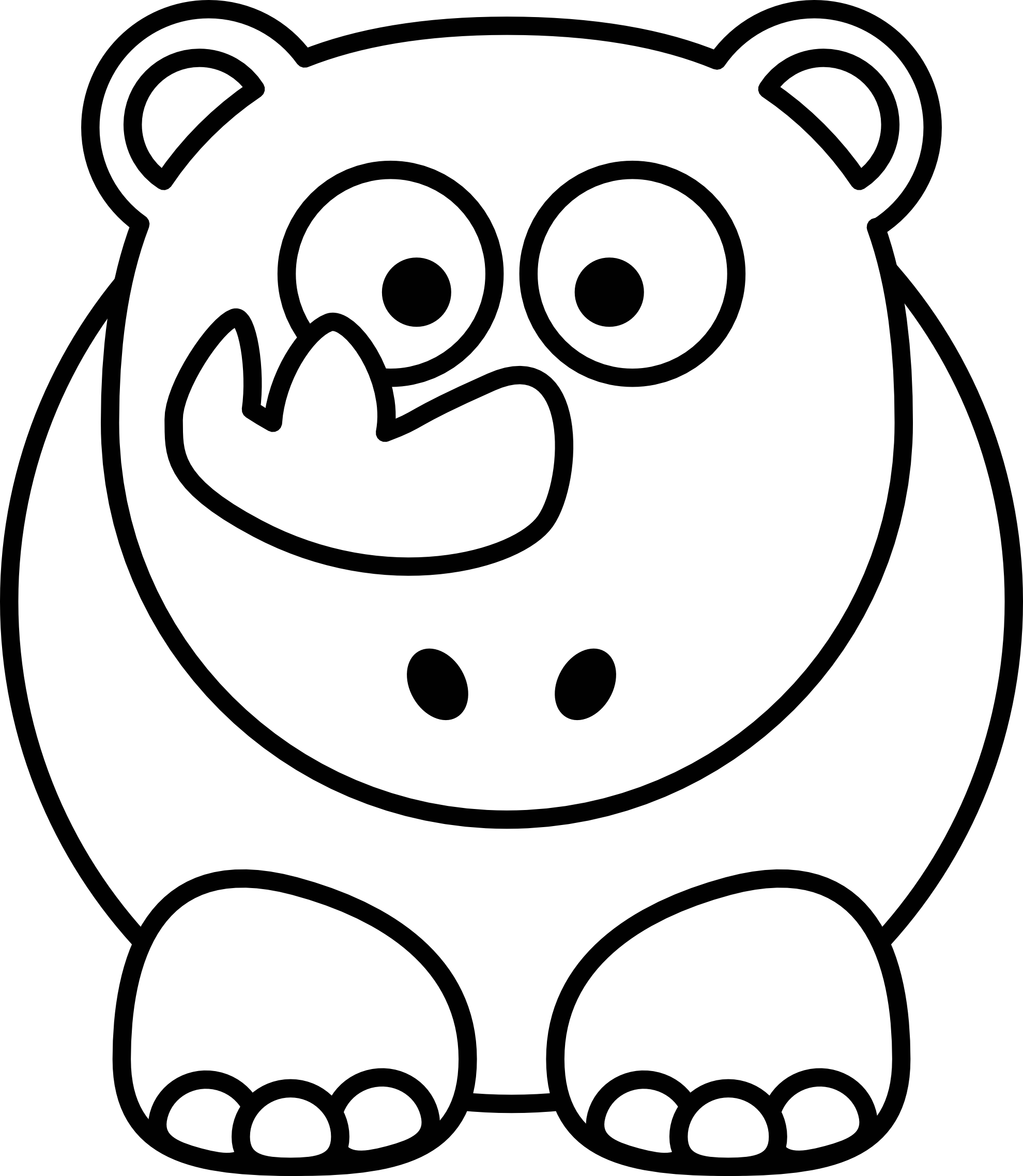 png freeuse library Clip art rhino panda. Black and white clipart moon