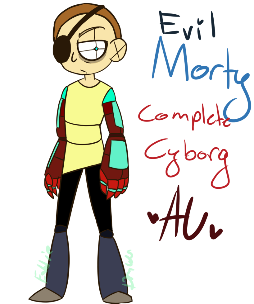 vector Rick drawing cyborg. Evil morty complete au