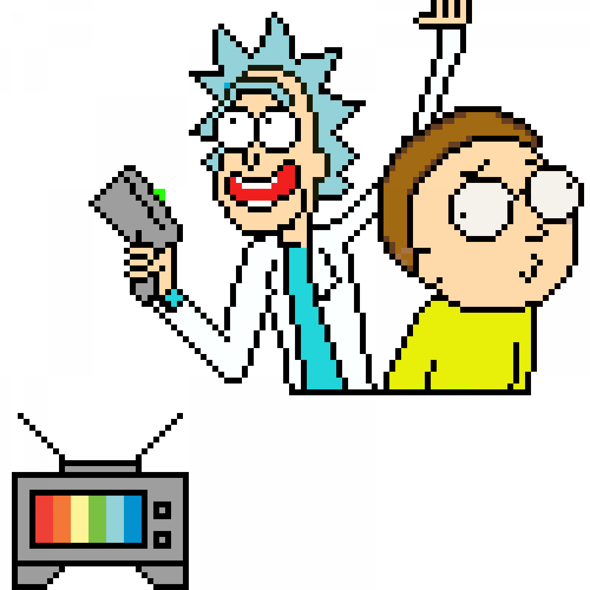 clip royalty free download Pixilart and morty by. Rick drawing pixel art