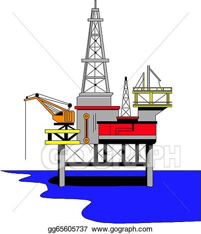 png royalty free stock Rig clipart. Vector oil drilling illustration.