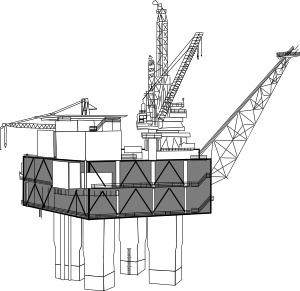 vector transparent stock Oil Rig Black And White Clip Art at Clker