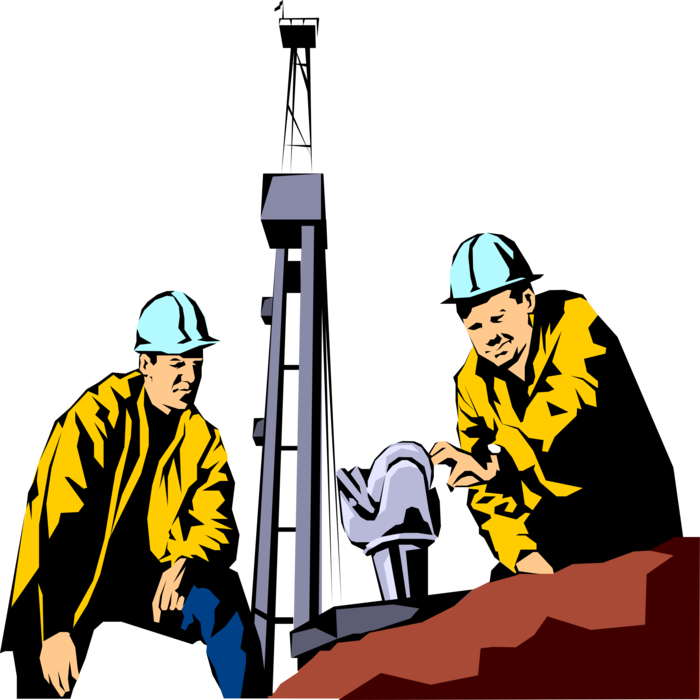 clip art transparent download Oil Workers with Drill Bit and Derrick
