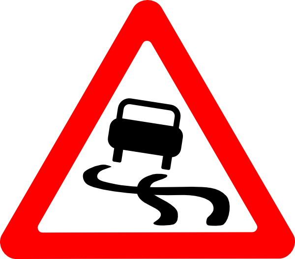 banner black and white library Roads clipart. Slippery road sign clip.
