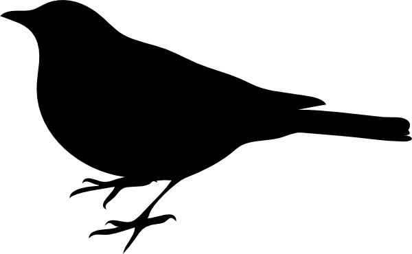 graphic black and white Bird silhouette small clip. Robin clipart black and white