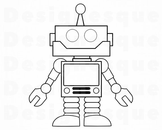 png royalty free library Robot clipart. Outline svg alien files.