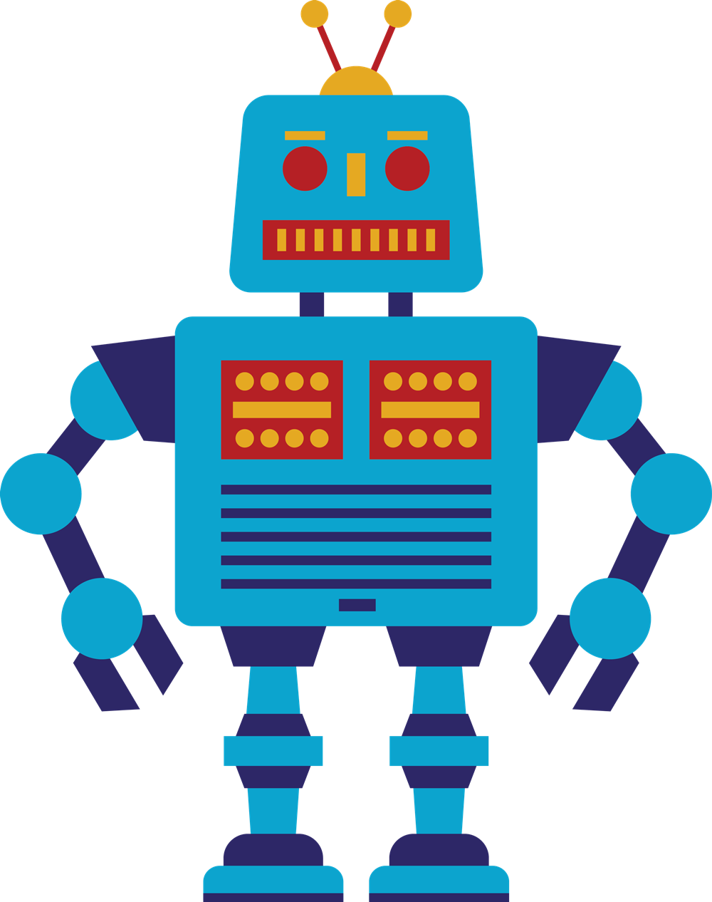 picture transparent library Free Retro Blue Robot Clip Art