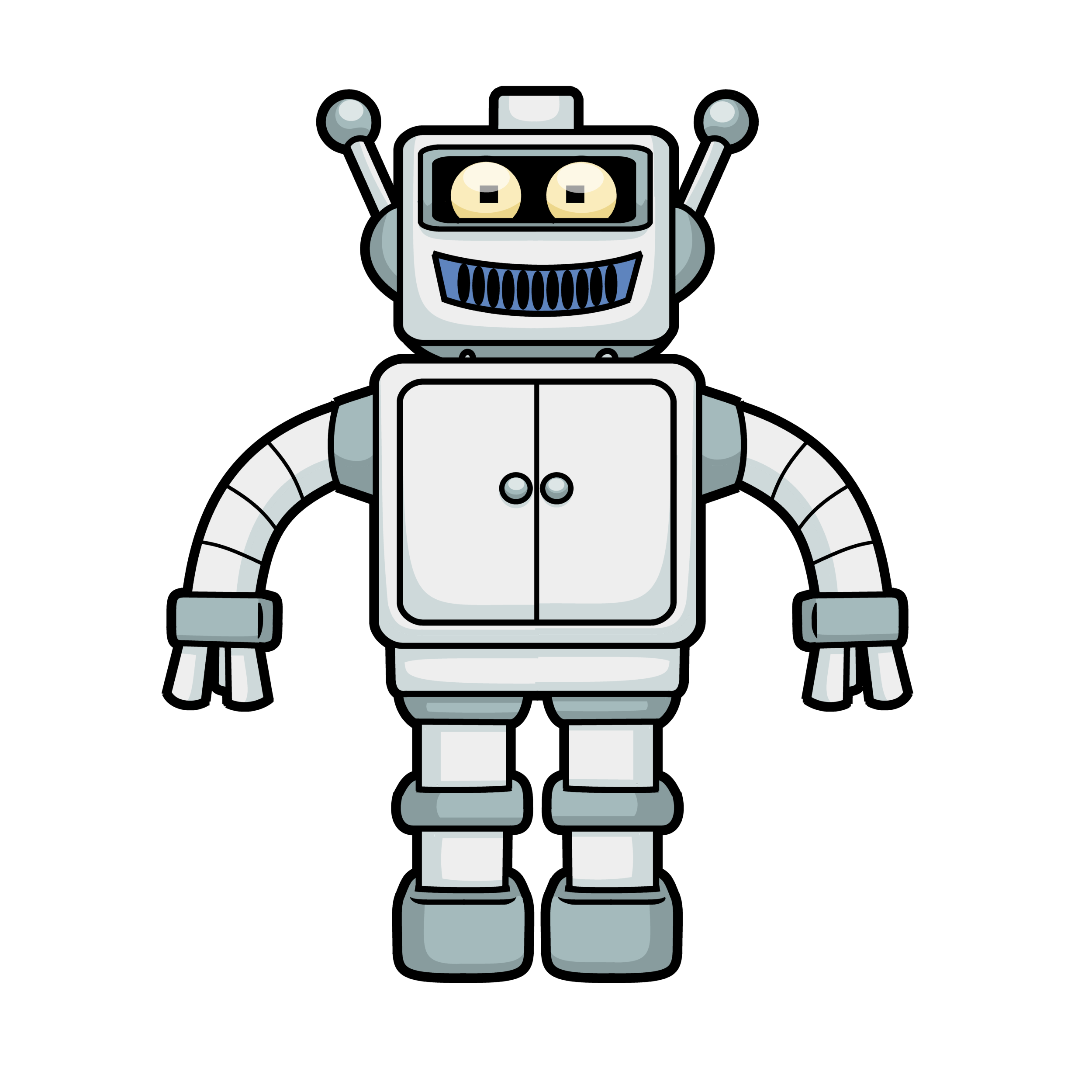 png black and white Free Cartoon Robot Vector