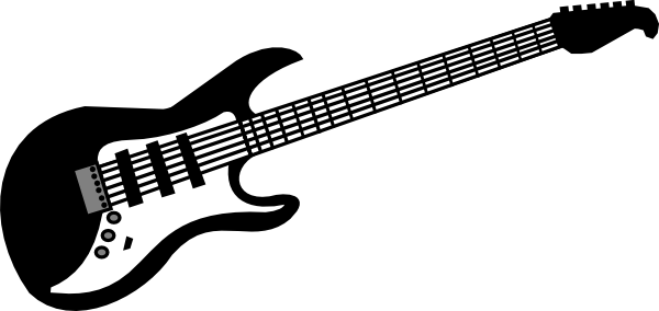 black and white stock Rock N Roll Clipart Guitarist